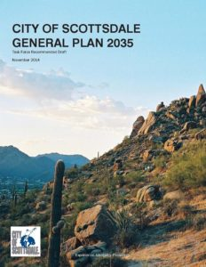 cover of the City of Scottsdale General Plan 2035 view of mountain hiking trail.